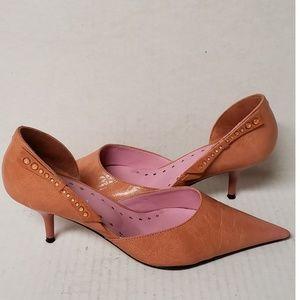 Miriam Peach/orange Leather Pointed Toe Pumps